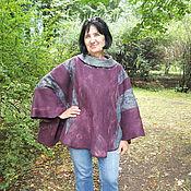 """Одежда ручной работы. Ярмарка Мастеров - ручная работа валяное пончо """"Пурпурный вечер"""". Handmade."""
