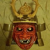 Для дома и интерьера handmade. Livemaster - original item Wooden wall mask of a samurai. Handmade.