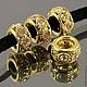 Бусины металлические, латунь, с покрытием под золото с ювелирными стразами ААА++ по всей окружности для браслетов Пандора , колье, бус.