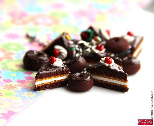 """Браслеты ручной работы. Ярмарка Мастеров - ручная работа. Купить """"Вишня в шоколаде"""" Браслет тортики.. Handmade. Коричневый, купить торт"""
