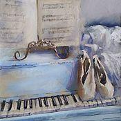 Картины и панно handmade. Livemaster - original item Diptych pastel Ballet (pointe shoes ballerina blue beige painting). Handmade.