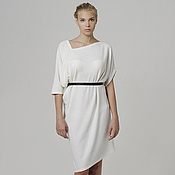 Одежда handmade. Livemaster - original item Dress white c warm knitted Angora MIDI drape. Handmade.