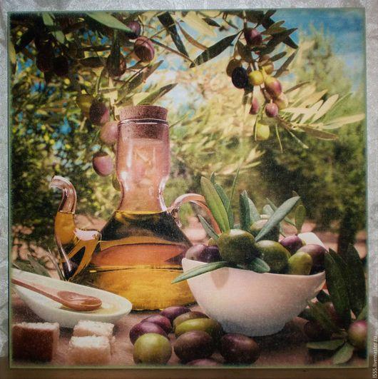 """Кухня ручной работы. Ярмарка Мастеров - ручная работа. Купить """"Натюрморт с оливками"""" Разделочная доска панно. Handmade. Комбинированный"""