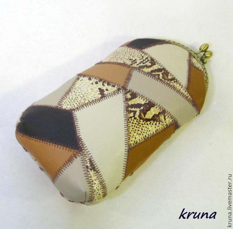 Кожаный очешник/ футляр для очков на металлическом фермуаре