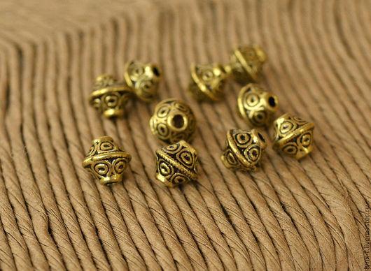 Для украшений ручной работы. Ярмарка Мастеров - ручная работа. Купить 20шт Бусина Юла ант.золото 7мм. Handmade.