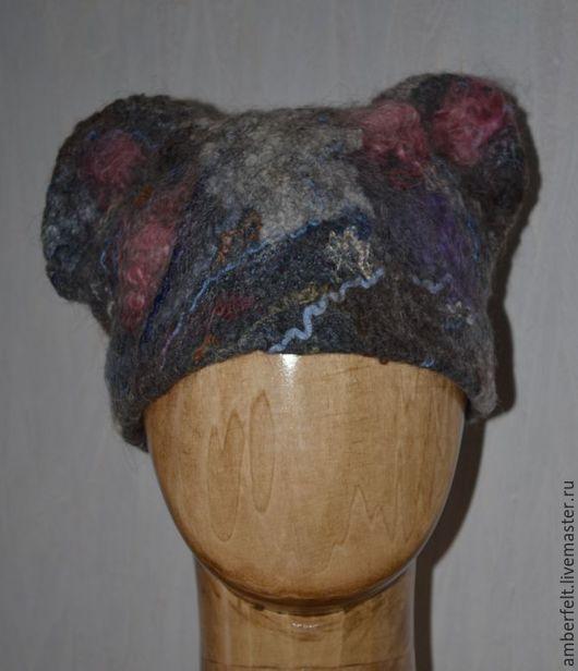 """Шапки ручной работы. Ярмарка Мастеров - ручная работа. Купить Шапочка """"Мышки - кошки"""". Handmade. Темно-серый, шапки модные"""