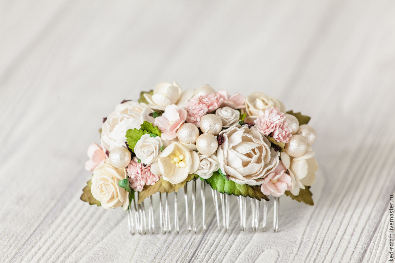 Delicate Hair Comb Hair Decoration Pink Flowers Shop Online On