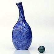 Для дома и интерьера ручной работы. Ярмарка Мастеров - ручная работа Керамическая ваза для цветов Синяя Яшма интерьерная бутылка. Handmade.