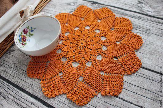 """Текстиль, ковры ручной работы. Ярмарка Мастеров - ручная работа. Купить Салфетки """"Лето"""". Handmade. Оранжевый, для дома и дачи, подарок"""