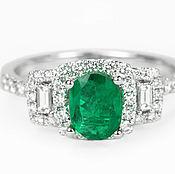 Украшения handmade. Livemaster - original item 1.40tcw Oval Colombian Emerald Engagement Ring, Modern Emerald Engagem. Handmade.