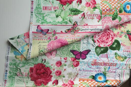 """Шитье ручной работы. Ярмарка Мастеров - ручная работа. Купить Ткань """"Коллаж. Цветы и птицы"""" №3. Handmade. Ткань для творчества"""