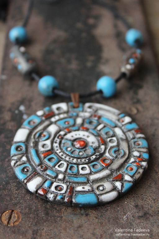 """Кулоны, подвески ручной работы. Ярмарка Мастеров - ручная работа. Купить подвеска """"Вселенная"""". Handmade. Голубой, круги, керамическая подвеска"""
