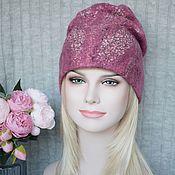 Аксессуары handmade. Livemaster - original item Felted hat.Warm Wool Felted Beanie Amaranth Hat. Handmade.