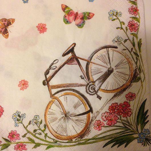 Весна, бабочки, велосипед - салфетка для декупажа Декупажная радость