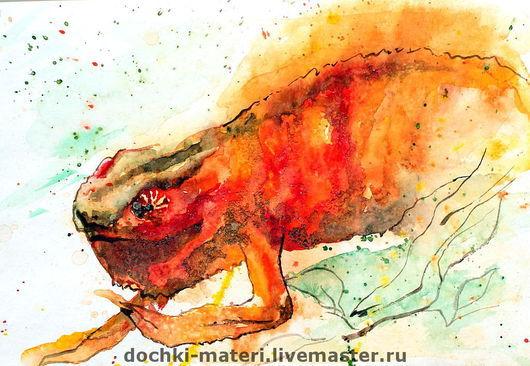 """Животные ручной работы. Ярмарка Мастеров - ручная работа. Купить Картина """"Веселый Хамелеон"""". Handmade. Хамелеон, оранжевый цвет"""
