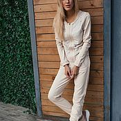 Одежда handmade. Livemaster - original item Stylish suit in Light beige Petko. Handmade.