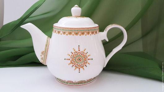 """Чайники, кофейники ручной работы. Ярмарка Мастеров - ручная работа. Купить Чайник заварочный фарфоровый,ручная роспись """"Звезда""""Заварочный чайник. Handmade."""