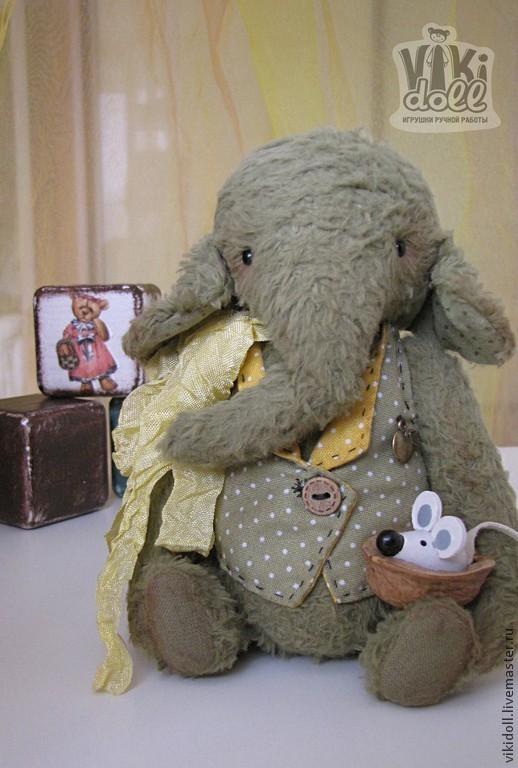 Мишки Тедди ручной работы. Ярмарка Мастеров - ручная работа. Купить Слон тедди Бибо. Handmade. Оливковый, шебби-лента