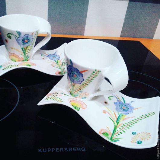 Сервизы, чайные пары ручной работы. Ярмарка Мастеров - ручная работа. Купить Чайные пары фарфоровые, форма Wave. Handmade.