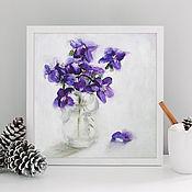 Картины и панно handmade. Livemaster - original item Bouquet of violets, 20h20cm, oil on canvas, still life, miniature. Handmade.