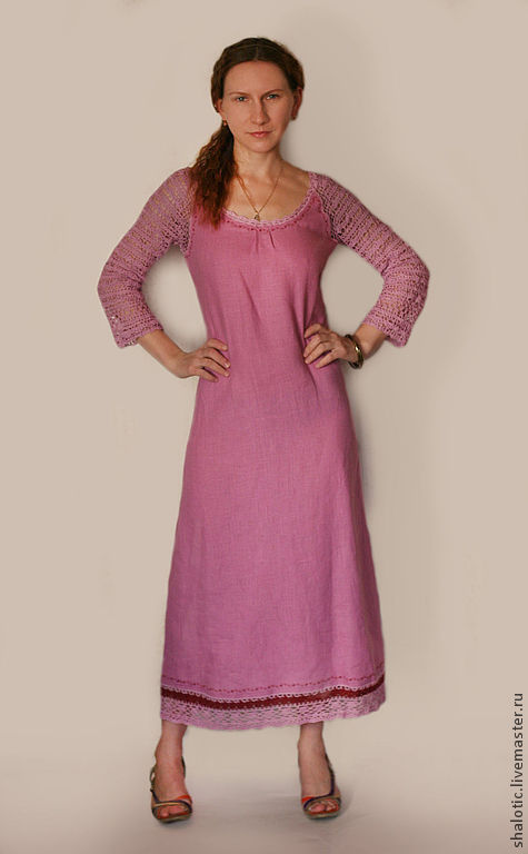 Льняное платье, платья ручной работы, платья с кружевом, льняные платья, автор  Юлия Льняная сказка