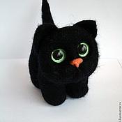 Куклы и игрушки ручной работы. Ярмарка Мастеров - ручная работа чёрный котик (игрушка из войлока). Handmade.