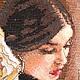 Вышитая крестиком картина `Девушка с букетом`