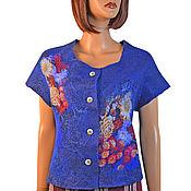 Одежда handmade. Livemaster - original item Felted blue vest made of Merino wool and silk. Handmade.