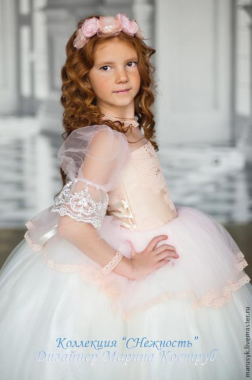 Одежда для девочек, ручной работы. Ярмарка Мастеров - ручная работа. Купить Платье Мерида+ украшение на голову. Handmade. Кремовый, шифон
