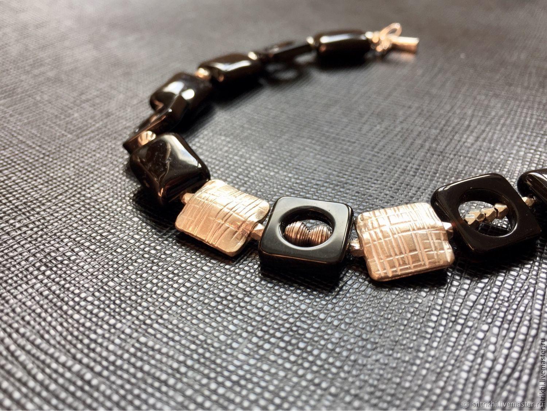 Bracelet Monochrome. Agate black, silver man.work Karen, Bead bracelet, Moscow,  Фото №1