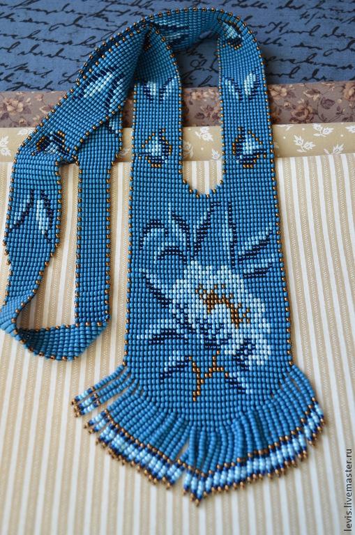 """Колье, бусы ручной работы. Ярмарка Мастеров - ручная работа. Купить Гайтан """"Голубые маки"""". Handmade. Синий, бисерное украшение"""