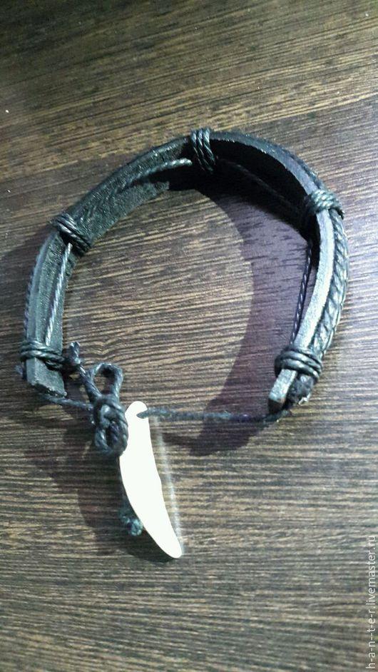 Фен-шуй ручной работы. Ярмарка Мастеров - ручная работа. Купить браслет кожаный с клыком волка,. Handmade. Черный