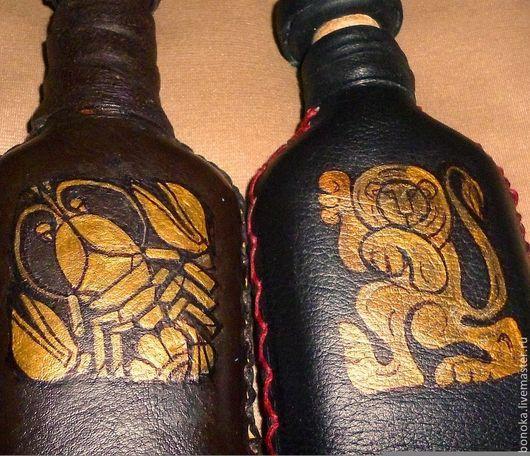 """Персональные подарки ручной работы. Ярмарка Мастеров - ручная работа. Купить Бутылочка-фляга кожаная """"Зодиак"""" В наличии """"Стрелец"""". Handmade."""