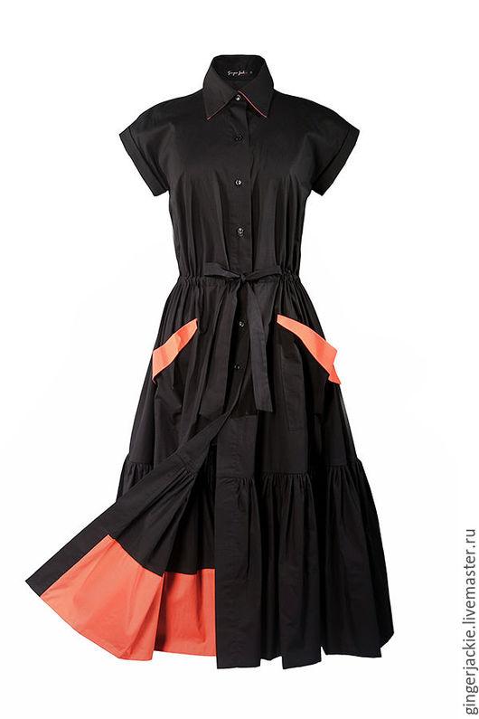 """Платья ручной работы. Ярмарка Мастеров - ручная работа. Купить """"Shirt dress"""". Handmade. Черный, оборка"""