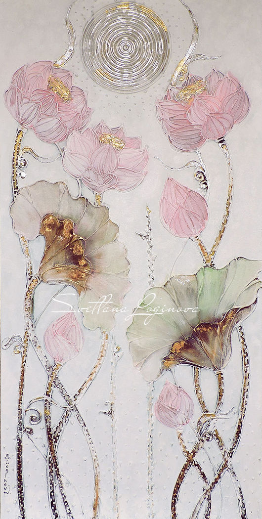 """Картины цветов ручной работы. Ярмарка Мастеров - ручная работа. Купить Картина для интерьера """"Lotus"""". Картина в подарок.. Handmade."""