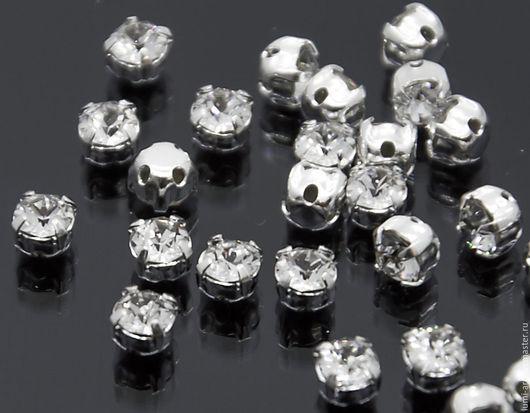 Для украшений ручной работы. Ярмарка Мастеров - ручная работа. Купить Chaton Montees 4mm Crystal  в оправе пришивные стразы Сваровски 15 шт. Handmade.