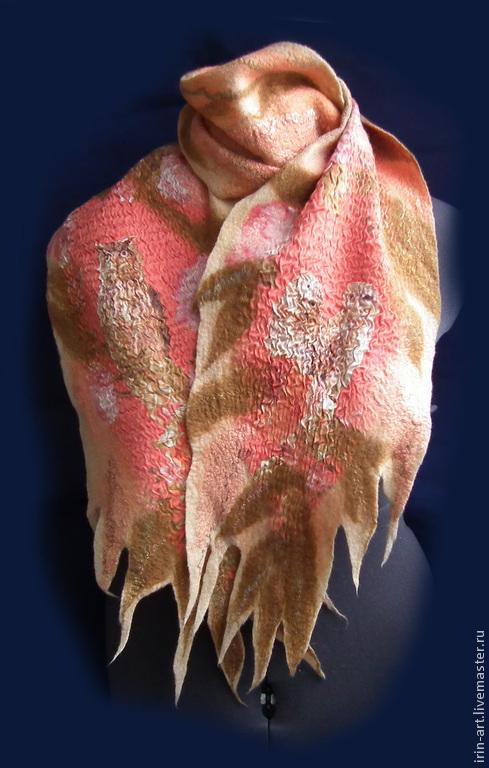 Шарфы и шарфики ручной работы. Ярмарка Мастеров - ручная работа. Купить валяный шарф    СОВА и солнечный луч. Handmade. Бежевый