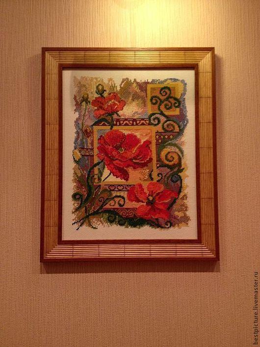 Картины цветов ручной работы. Ярмарка Мастеров - ручная работа. Купить Маки. Вышитая картина. Цветы. Handmade. Ярко-красный