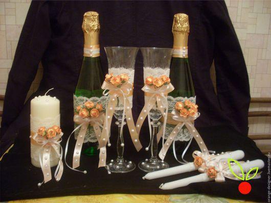 Свадебный набор аксессуаров `Нежная роза`