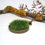 Украшения handmade. Livemaster - original item Pendant Green Grass White Yellow Moss Green Forest Fairy Eco Jewelry. Handmade.