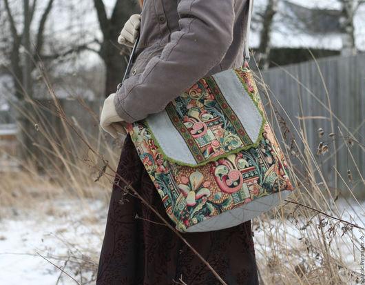 Льняная сумка в этническом стиле, сумка гобеленовая через плечо, рюкзаки и сумки ручной работы, автор Юлия Льняная сказка
