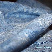 Аксессуары ручной работы. Ярмарка Мастеров - ручная работа Шарф-палантин валяный двусторонний шелковый паутинка Нежность голубой. Handmade.