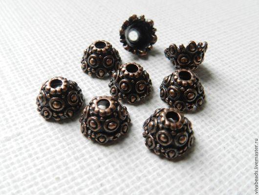 Шапочки для бусин (концевики), размер 11 мм в диаметре, высота 7 мм, отверстие 2,7 мм, цвет античная медь и античное серебро. (арт. 1247)