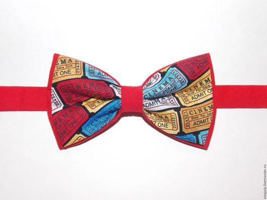 """Галстуки, бабочки ручной работы. Ярмарка Мастеров - ручная работа. Купить Галстук - бабочка """"Билетик в кино"""" на красном. Handmade. Черный"""