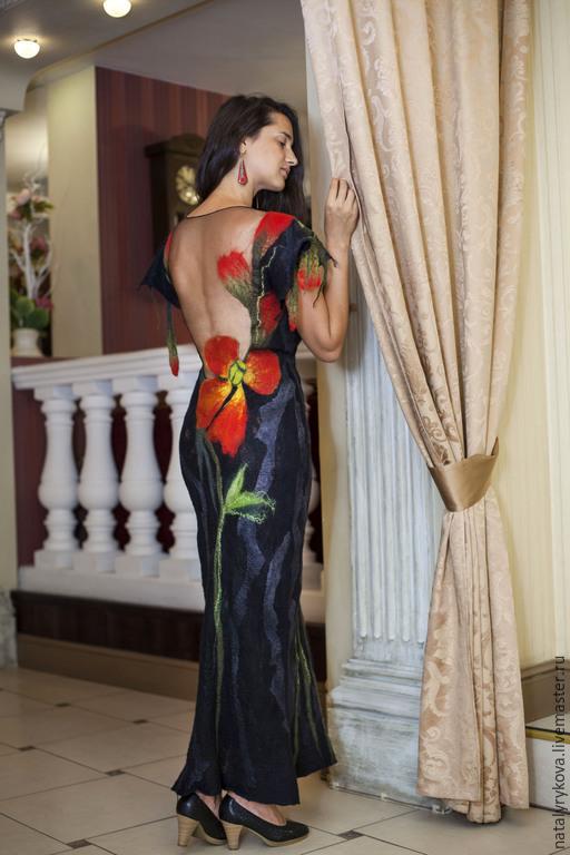 Платья ручной работы. Ярмарка Мастеров - ручная работа. Купить Маки платье вечернее с открытой спиной, длинное. Handmade. Платье