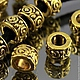 Бусины металлические литые с затейливым растительным орнаментом в виде завитков с покрытием античное золото для сборки украшений комплектами по 10 штук