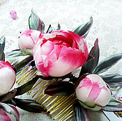 """Цветы и флористика handmade. Livemaster - original item Comb """"the Buds"""" Peonies Silk accessories jewelry. Handmade."""