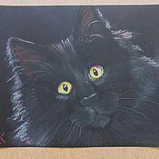 """Картины и панно ручной работы. Ярмарка Мастеров - ручная работа """"Чёрный кот"""".. Handmade."""