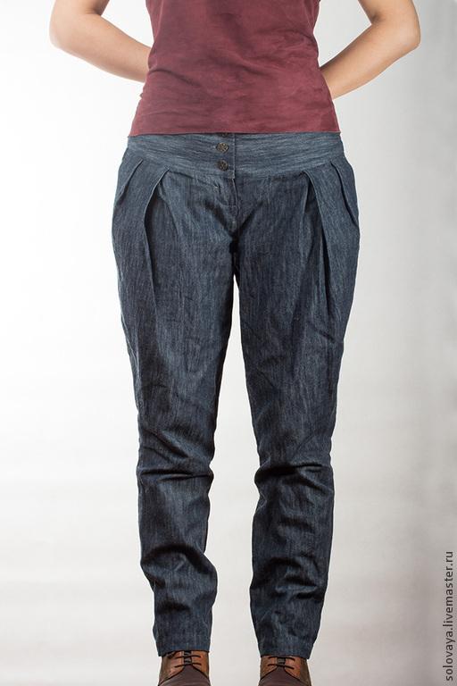 Брюки, шорты ручной работы. Ярмарка Мастеров - ручная работа. Купить Брюки из джинсовой ткани на кокетке.. Handmade. Синий, джинсы