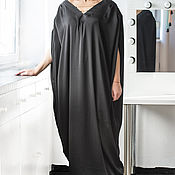 Одежда ручной работы. Ярмарка Мастеров - ручная работа Черное сатиновое коктейльное элегантное макси платье, кафтан, абайя. Handmade.